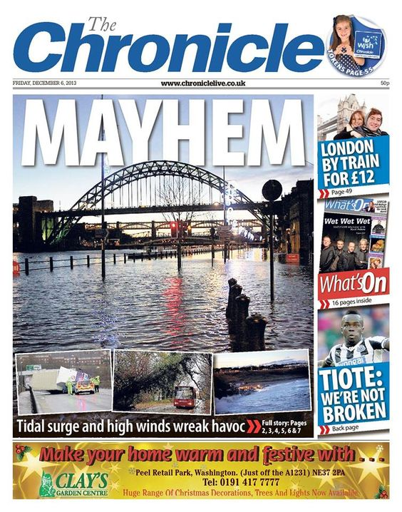 Storms in Newcastle: News Headlines, Gallery, Newspaper Front, Splashes, Newcastle, Storms
