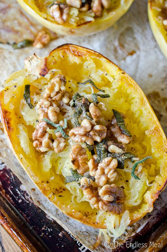 Roasted Spaghetti Squash with Brown Butter, Sage and Walnuts ...