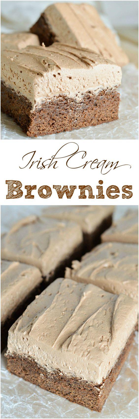Moist cake like chocolate brownies topped with decadent chocolate Irish Cream frosting.