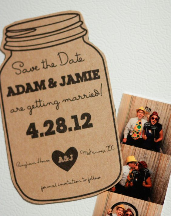 Magnet, Mason Jar Save the Date- Rustic Wedding Invitation. $1.50, via Etsy.