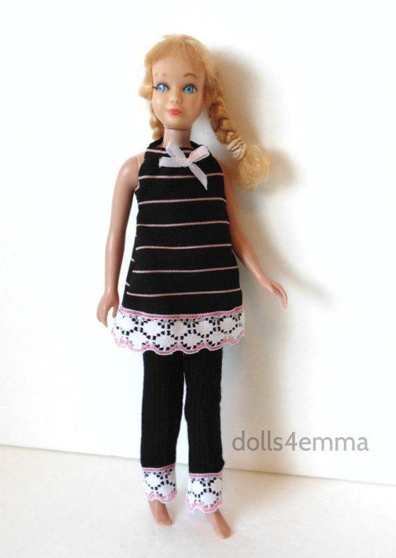 Vintage Skipper Doll Clothes Dress & Leggings Set Handmade Fashion NO DOLL d4e