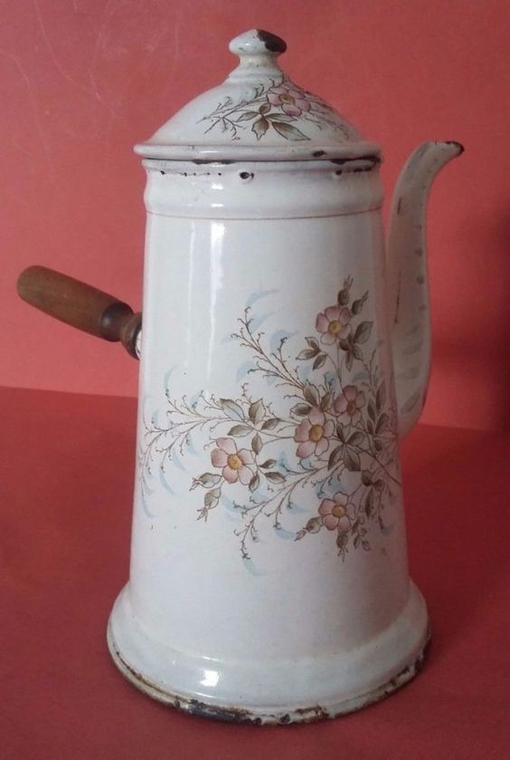 ANTIQUE FRENCH ENAMELLED SHEET CHOCOLATE POT SIGNED B & W - FLOWERS DECOR
