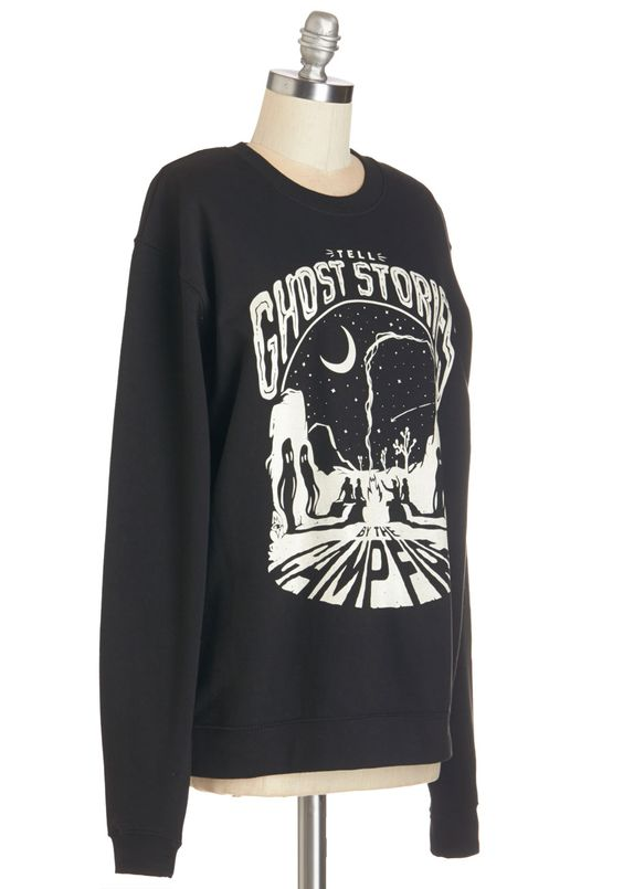 I Think I Campfire Sweatshirt. When your camping buddy dares you to tell a spooky tale, youre up for the challenge in this black sweatshirt from Maiden Voyage! #black #modcloth