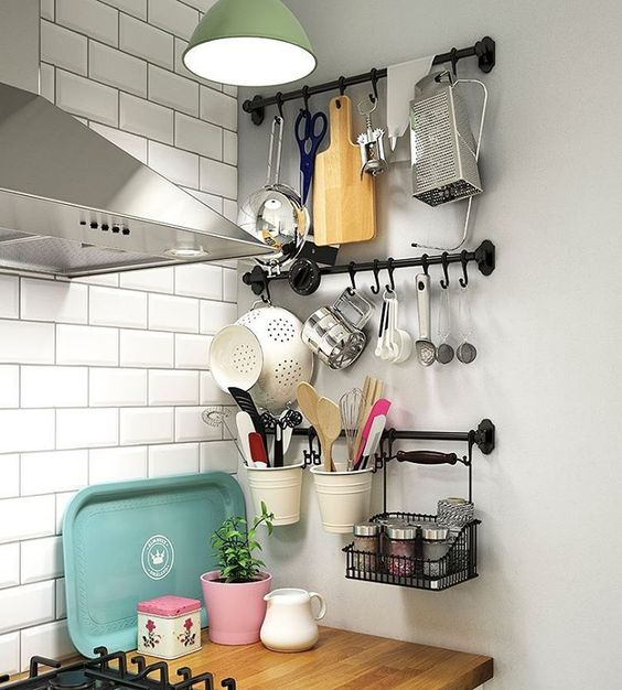 """When the drawers are full you can always use the walls! FINTORP rails with hooks can turn an empty wall into a fully functional utensil space. #kitchen…"""