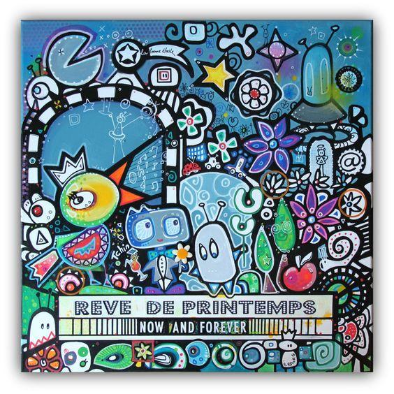 """Pour le défi des créateurs: Rêve de printemps"""" doodle sur toile : Peintures par astorgaudreyart"""