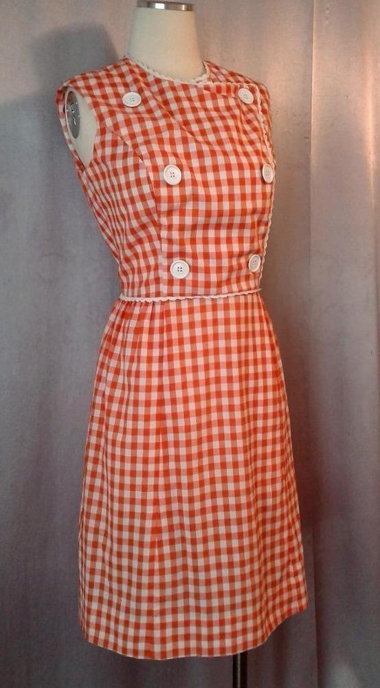 Vintage 1950s 60s Orange White Gingham Scooter Girl Dress W Button Detail Scooter Girl Dresses Girls Dresses