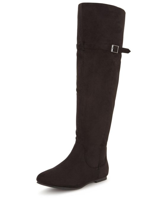 Shoe Box Sonata Faux Suede Knee Boots - Black Give your weekend wardrobe…