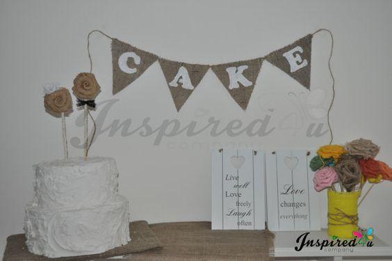 Cake  Funky Hessian Burlap Bunting Banner by inspiredcompany4u, £5.99
