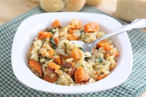 Roasted Sweet Potato and Spinach Risotto.