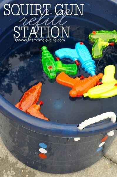 Get ready for the Fourth of July by creating a Squirt Gun Station for the kids to cool down! #frogtape #shapetape #ad:
