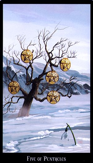 Free Daily Tarotscope — Jan 7, 2015 — Five of Pentacles -- Today you might have to look at where you may have over-extended yourself in recent weeks, particularly with year-end expenses and Holiday spending. As Saturn and the Sun move into a hard (semi-square) aspect today, your focus may shift from feelings of joy and anticipation to the more unsettling feelings of worry, loneliness and isolation.(more)...