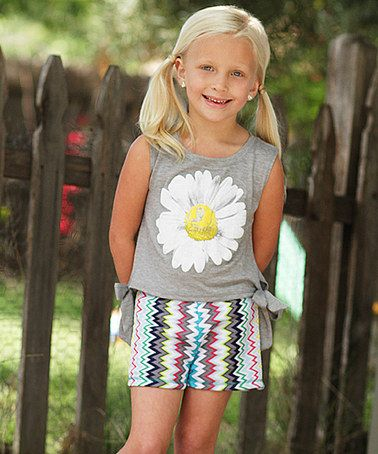 This Gray Daisy Tee & Zigzag Shorts - Toddler & Girls by Freckles + Kitty is perfect! #zulilyfinds
