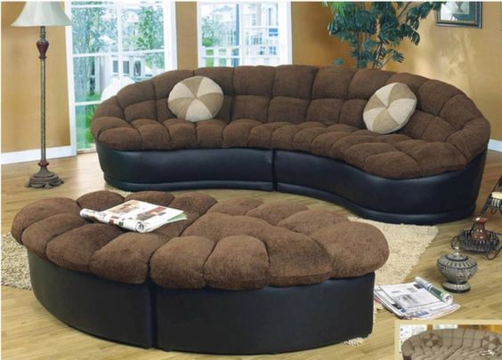 Two Piece Sectional Sofa Ottoman Modern Design Living Room