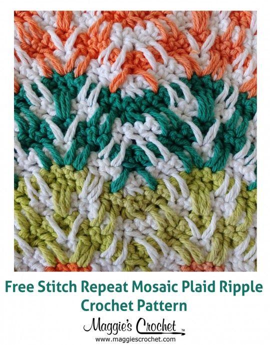 Crochet Stitches : Maggie's Crochet Blog. Free stitch repeat - Mosaic Plaid Ripple crochet pattern