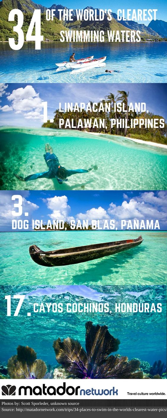 34 of the World's Clearest Swimming Waters. Here are just 3 of 34. Spot number 6 is truly amazing! http://matadornetwork.com/trips/34-places-to-swim-in-the-worlds-clearest-water-pics/