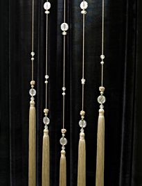 Long silk tassels with crystal beads