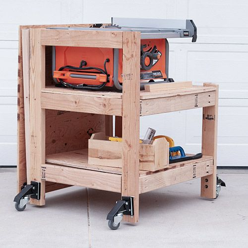Diy Table Saw Stand With Folding Outfeed Table Diy Table Saw Table Saw Stand Portable Table Saw
