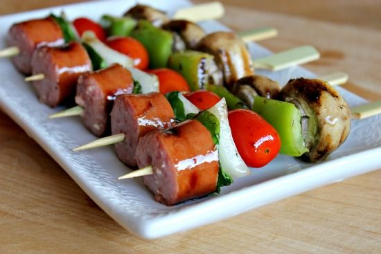 Kielbasa appetizer kabobs - A combo of balsamic, evoo, and garlic is basted on while grilling.