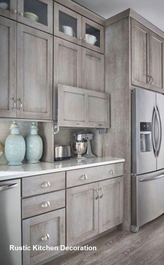 Utilizing Color To Renovate The Kitchen Is Another Example Of Affordable Cooking Area Decorati Rustic Kitchen Cabinets Rustic Kitchen Farmhouse Style Kitchen