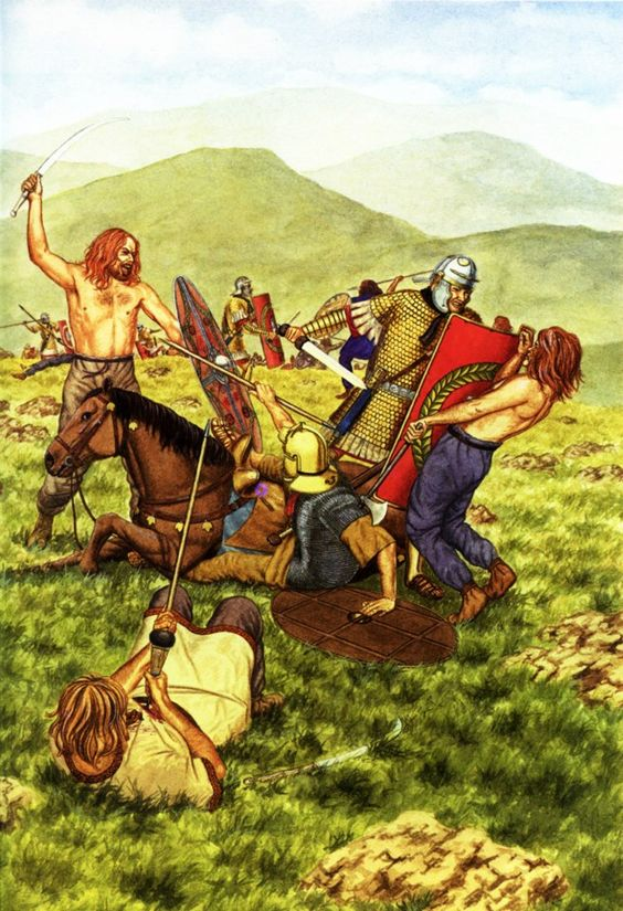 Romans battling Dacian warriors. The Dacian warrior on the left uses the fearsome falx, a scythe-like weapon. The Roman on the right has the extended arm protection created especially to deal with the Dacians and their falx blades.