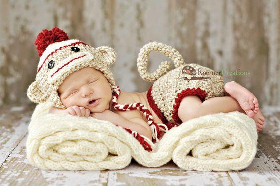 Sock Monkey Newborn Outfit