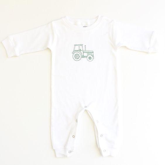 Big Green Tractor Long Sleeve Infant Romper