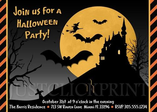 Haunted House Spooky Witch Halloween Party Invitation Printable