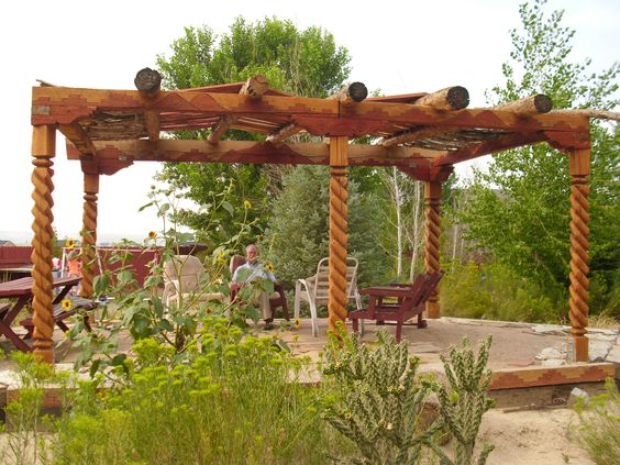 Las cruces posts and teak on pinterest for Southwest pergola