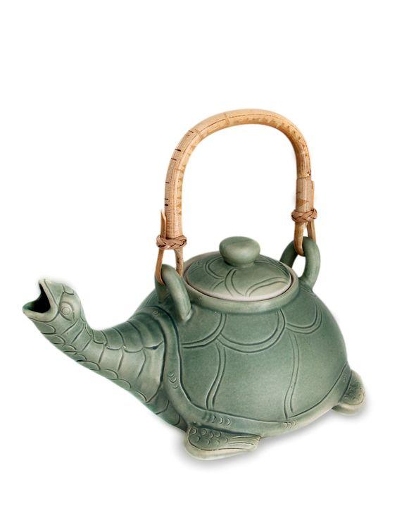 Teapot, 'Lingering Turtle' by NOVICA at Gilt