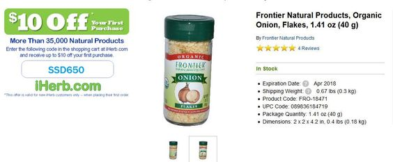 Frontier Natural Products, Organic Onion, Flakes, 1.41 oz (40 g)   http://iherb.com/Frontier-Natural-Products-Organic-Onion-Flakes-1-41-oz-40-g/35858