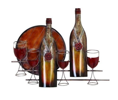 New Metal Wall Decor Wine Glasses Bottles Hanging Home Art Scylpture Kitchen