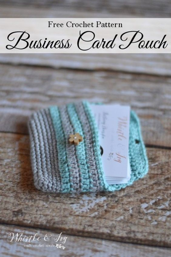 Free Crochet Pattern: Never miss a sales opportunity again by carrying around your business cards in this cute crochet business card pouch!: