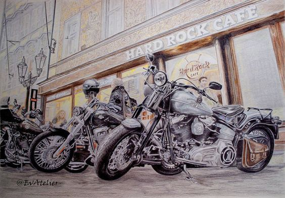 Strictly limited edition of prints in MyEtsy shop! #Harley-Davidson #WallArt #Motorbikes by EvAtelier1