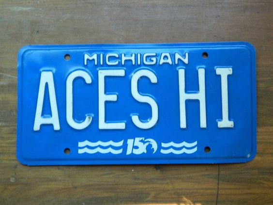 "1987 Michigan ""ACES HI""  Personalized Vanity License Plate, 150th Ann, ACES HIGH"