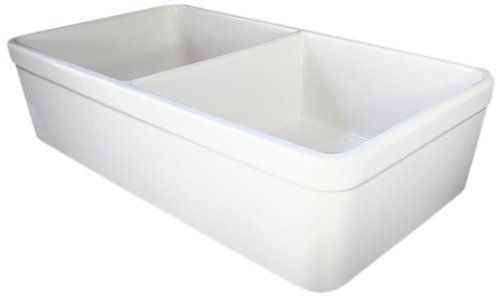 AB512 32-Inch Biscuit Double Bowl Fireclay Farmhouse Kitchen Sink ...