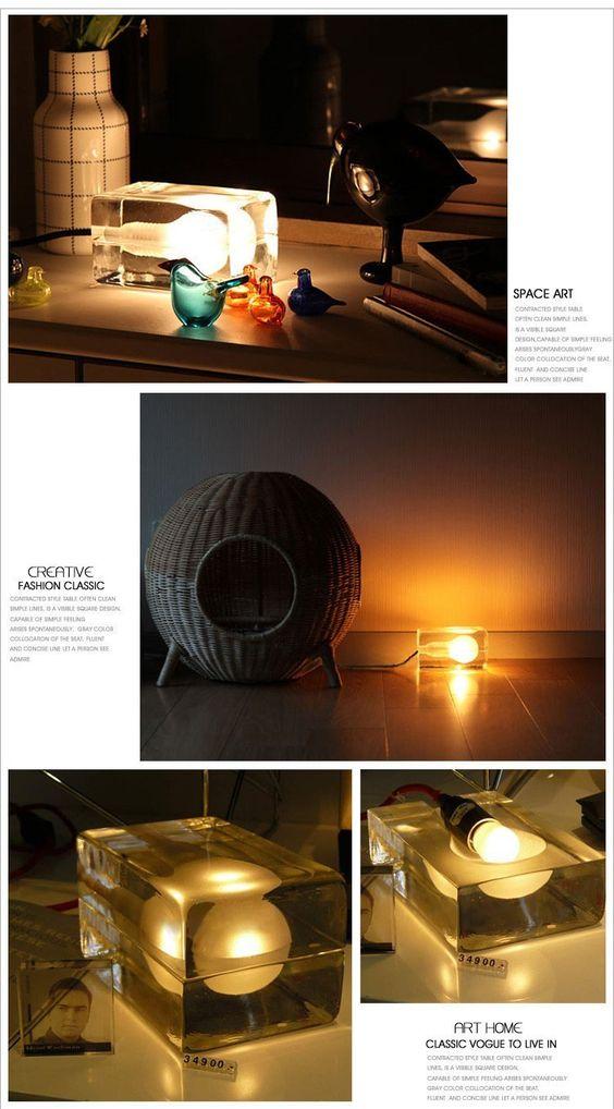 Coquimbo Crystal Clear Glas Anhänger Beleuchtung Iced Out Designer Glas Schreibtisch Tisch Bar LED Eiswürfel Lampe: Amazon.de: Küche & Haushalt