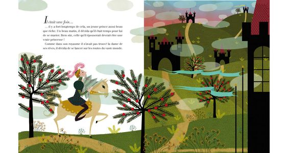 SurLaLune Fairy Tales Blog: France Month: La princesse au petit pois by Hans Christian Andersen and illustrated by Charlotte Gastaut