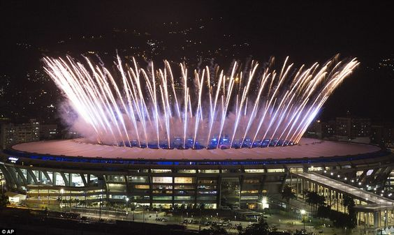 Fireworks exploded from the stadium as the Opening Ceremony for Rio Olympics 2016 kicked off