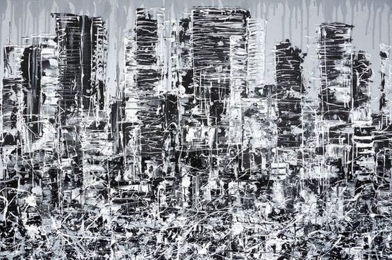 """""""IN THE CITY"""" Contemporary black, white and grey cityscape painting on chunky canvas #skyscrapers #busycity #citylife #citypainting #urbanlife http://www.hannahvanbergen.co.uk/cityscapes-2/421289_in-the-city.html"""