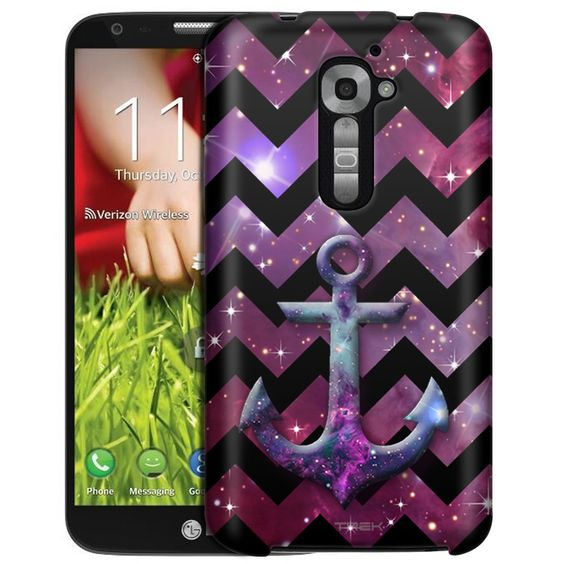 LG Verizon G2 Anchor on Chevron Black White on Nebula Slim Case