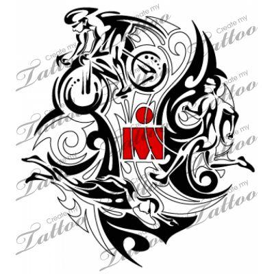 Ironman Tribal Triathlon Tattoo   Ironman design #15502   CreateMyTattoo.com