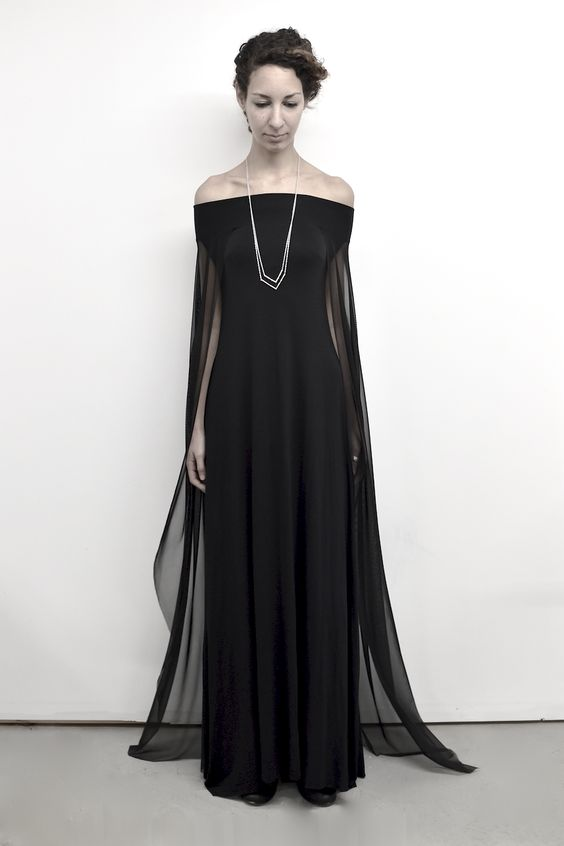 NUIT objects are designed and handmade in the Toronto Atelier. All currency listed in CAD.Minimalist gown in languid, matte jersey and modern mesh. Off shoulder fit. Slip on design. Clean raw h...