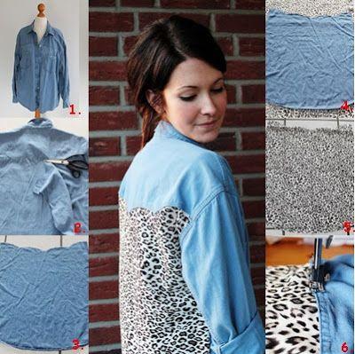 DIY back inset denim shirt