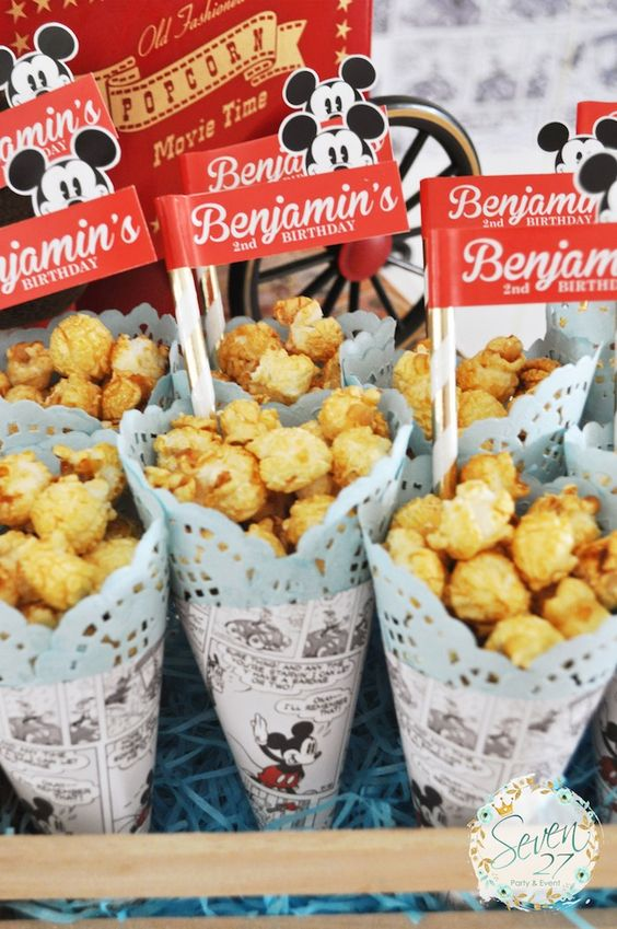 Caramel corn from Vintage Mickey Mouse Themed Birthday Party at Kara's Party…