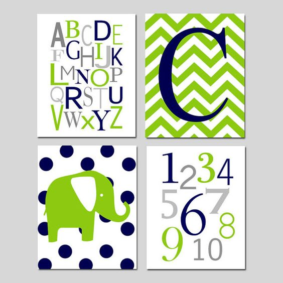 Navy Blue Lime Green Nursery Art - Chevron Initial, Alphabet, Numbers, Polka Dot Elephant - Set of Four 8x10 Prints - Choose Your Colors on Etsy, $65.00