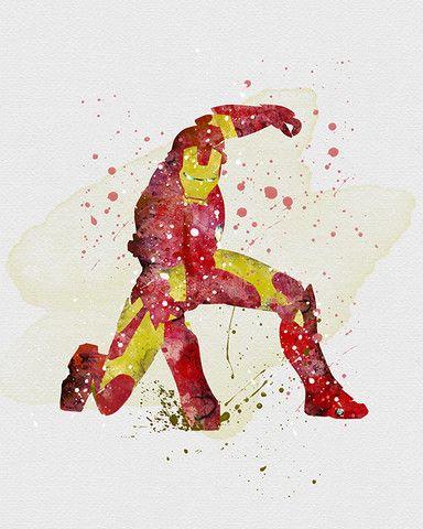 Iron Man Watercolor Art Print Caves Boys And Iron Man