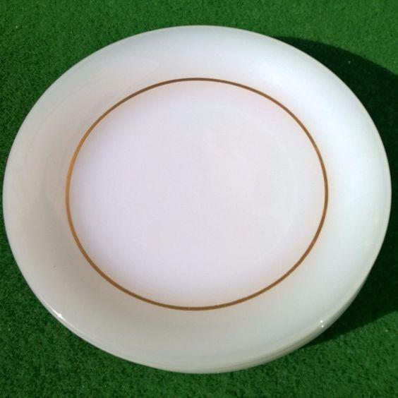 ARCOPAL WHITE GLASS GOLD RING 6 DESSERT PLATE SET MADE IN FRANCE GLAS TELLER