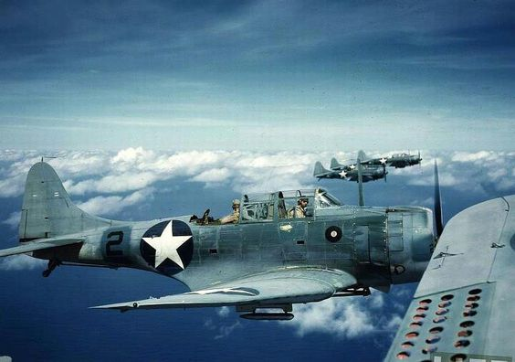 SBD Dauntless formation, probably 1942 or 1943.