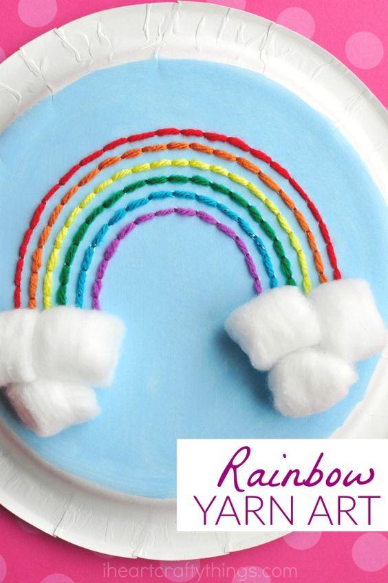 Paper Plate Rainbow Yarn Art Craft   I Heart Crafty Things
