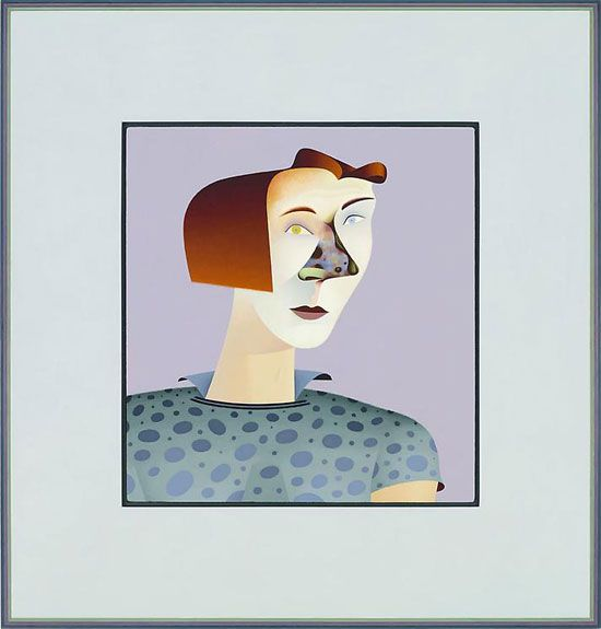 chicago imagists | Jim Nutt, Trim, 2010. Acrylic on linen with mdf frame, 25-3/8 x 24-3/8 ...